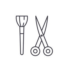 scissors and visagiste brush line icon concept vector image