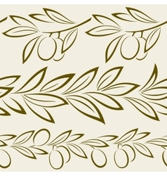 Seamless Olive Branch with Berries vector image