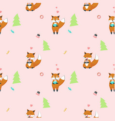 seamless pattern with cute funny foxes vector image