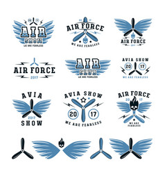 set of air force and air show emblem and icons vector image vector image