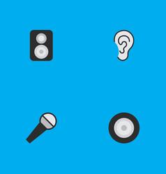 Set simple icons elements loudspeaker listen vector