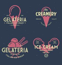 set vintage ice cream shop logo badges vector image