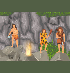 Stone age primitive tribes in stone caves near vector