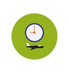 Stylish icon in color circle clock airplane vector