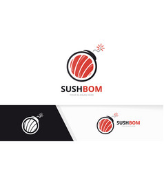 sushi and bomb logo combination japanese vector image