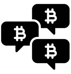Talking about bitcoin icon cryptocurrency related vector