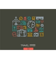 Travel integrated thin line symbols Modern linear vector image