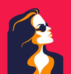 Trendy woman minimalist portrait female profile vector