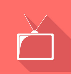 tv icon on long shadow vector image