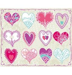 twelve hand drawing valentines heart vector image