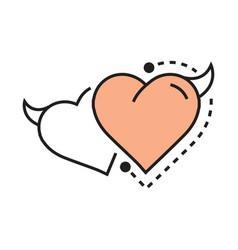 twins line icon style heart devil design vector image