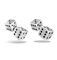 Two white falling dice isolated on white vector
