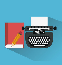 typewriter with book and pencil icons image vector image