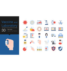 Vaccine and laboratory icons flat design for vector