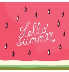 Watermelon Hello summer card vector