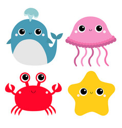 whale jellyfish crab starfish toy icon set big vector image