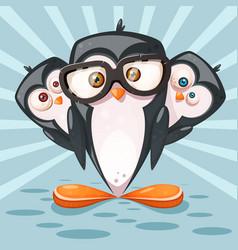 winter landscape cartoon penguin characters vector image