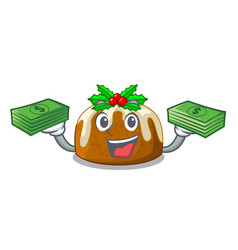 With money christmas pudding on dinning table vector