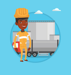 worker on background of fuel truck and oil plant vector image