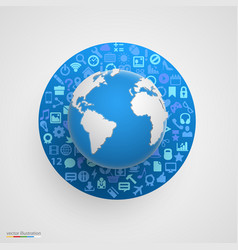 World globe with app icons vector