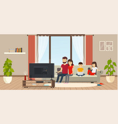 young family at home sitting on couch watching tv vector image