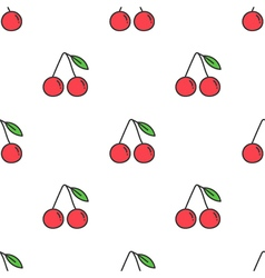 Colorful cartoon doodle cherry seamless pattern vector image