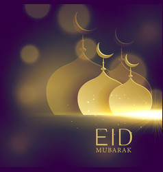 elegant mosque golden shapes on purple bokeh vector image