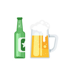 Flat style of beer bottle vector