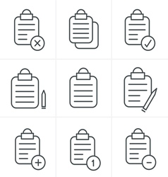 Line Icons Style isolated clipboard list icons set vector image