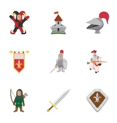 Military middle ages icons set cartoon style vector