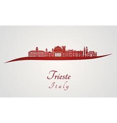 Trieste skyline in red vector image vector image