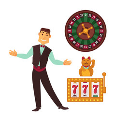 casino gaming template poster with symbols and man vector image vector image