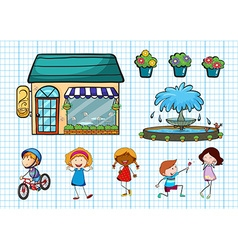 Children doing different activities and cafe vector image