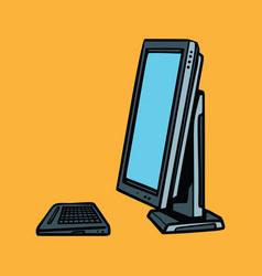 Computer monitor and keyboard vector