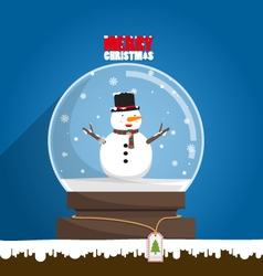Merry Christmas snowman in snow globe vector image