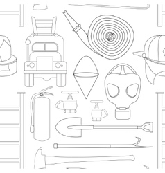 Set icons of firefighting equipment pattern vector image vector image