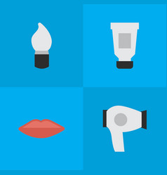 set of simple beauty icons elements scrub lips vector image