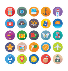 summer and travel icons 2 vector image