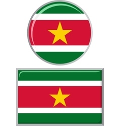 Surinamese round and square icon flag vector image vector image
