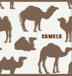 camel silhouettes set pattern vector image vector image