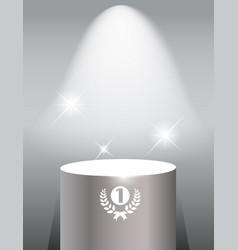 illuminated exhibition shelf on grey background vector image