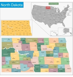 North Dakota map vector image