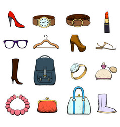 set of clothing and accessories vector image vector image
