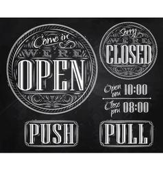 Set vintage open closed chalk vector image vector image
