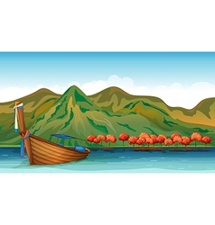 A boat in the middle of the sea vector image vector image