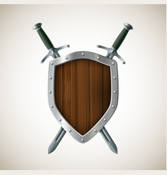 icon two sword and shield heraldic sign coat of vector image vector image