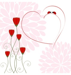 Love Card with Flower and Ladybug vector image vector image
