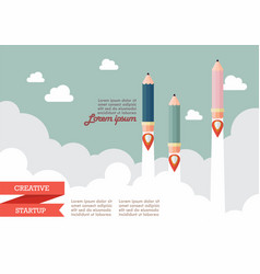 startup with pencil rockets vector image