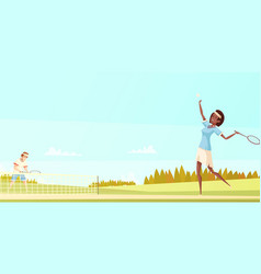 tennis players cartoon composition vector image