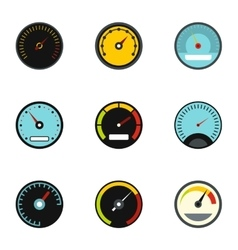 Types of speedometers icons set flat style vector image vector image